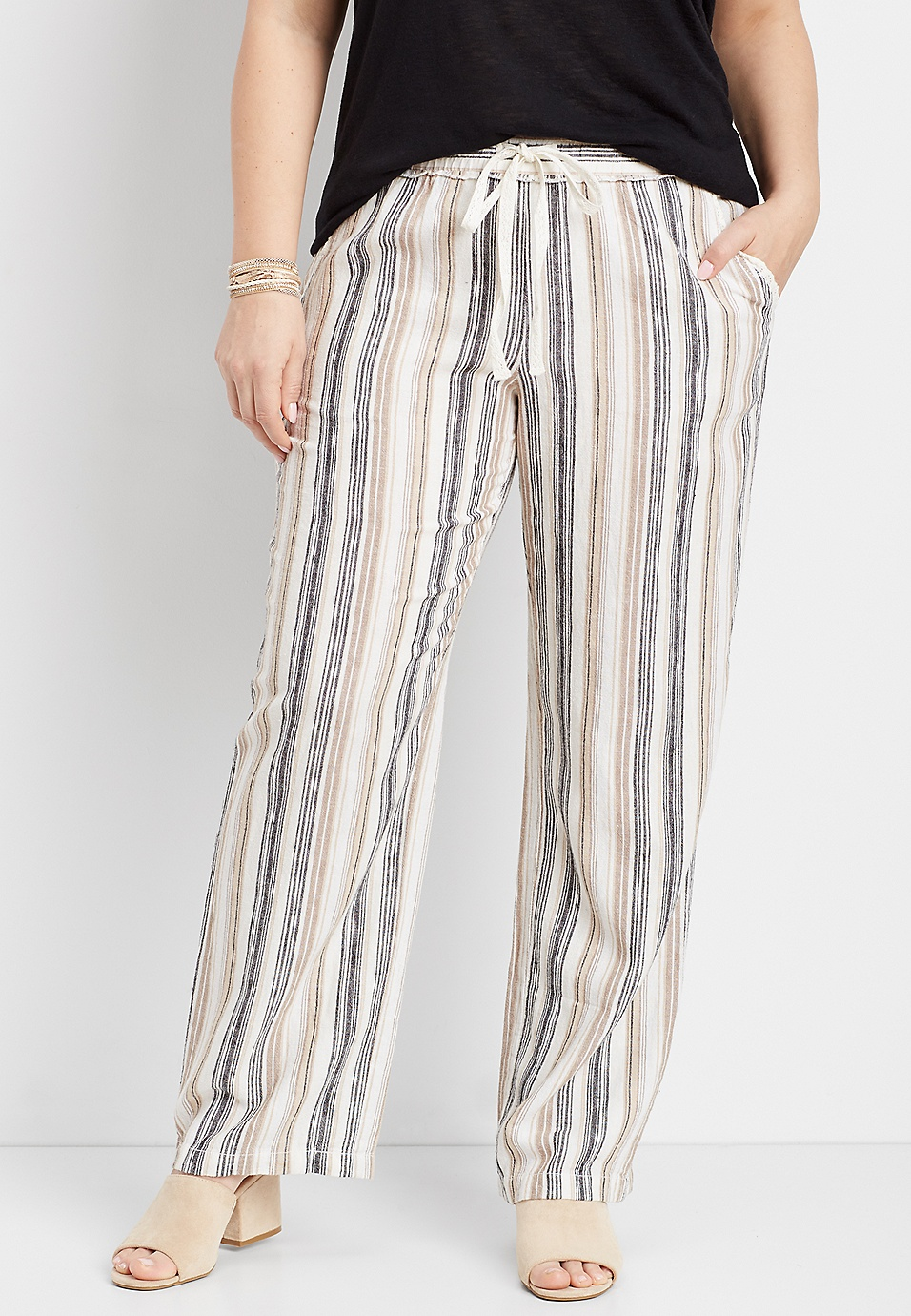 18cf41ffe69 plus size striped pull on pant