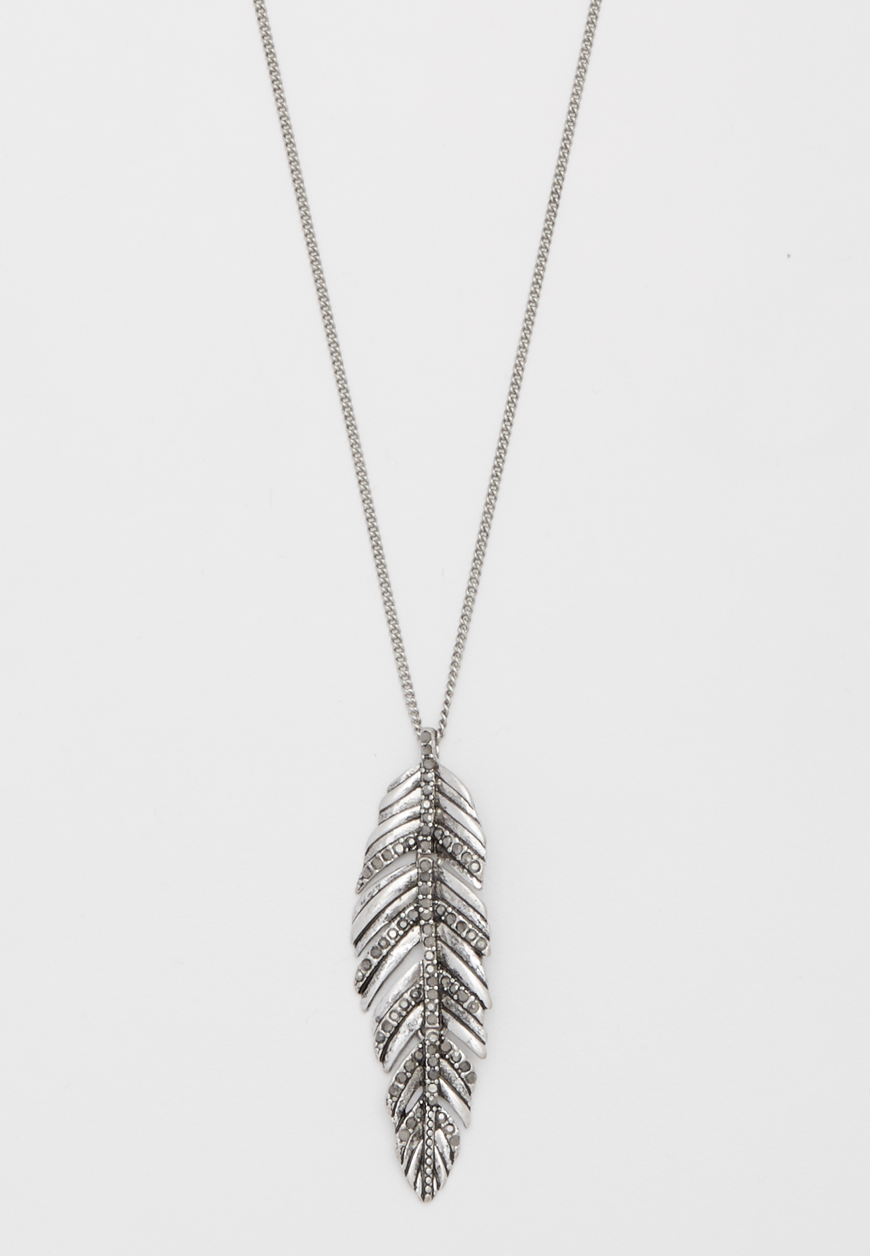 Maurices Rhinestone Feather Pendant Necklace