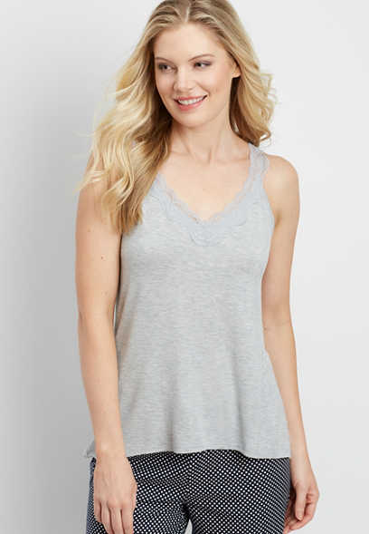 heathered sleep cami with lace trim straps