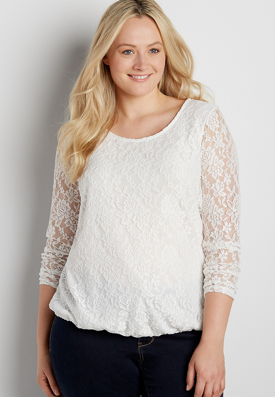 bd8c922f97fde plus size lace top with bubble hem