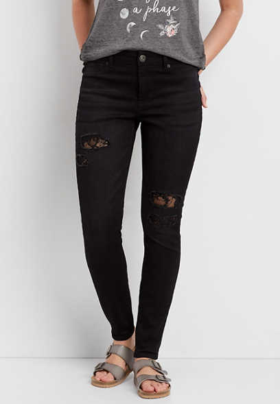 DenimFlex™ high rise jegging in black with lace lined destruction