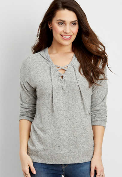 ultra soft pullover hooded sweatshirt with lace up neckline