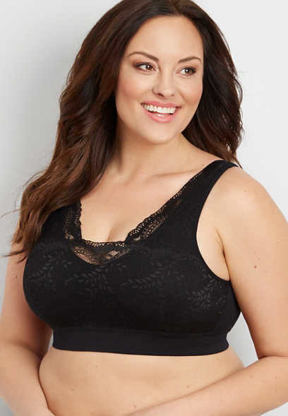 plus size lace overlay bralette