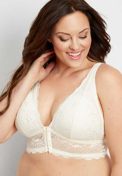 plus size lace v-neck bralette