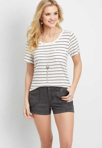 slate linen short with knit waist