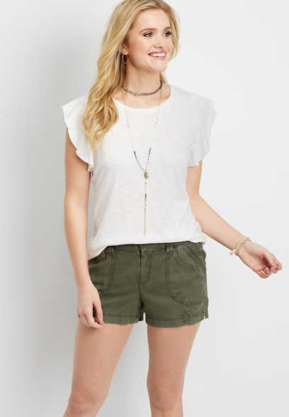 Knit Waist Khaki Linen Short Maurices