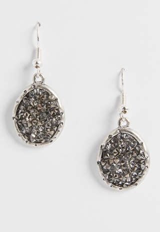 Maurices Silver Rhinestone Button Earring