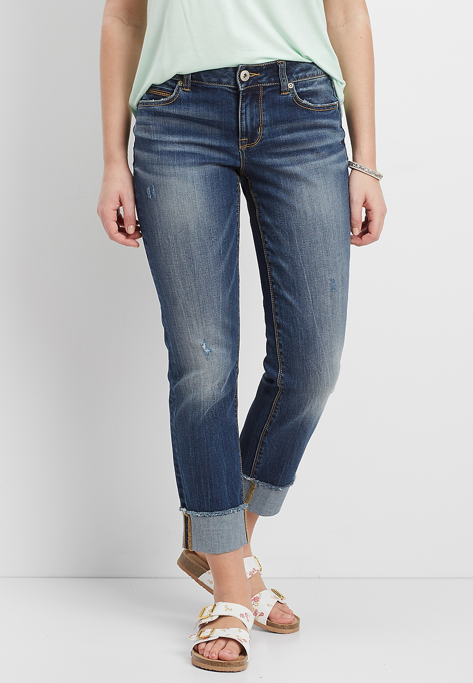 0f2eb9dd79 wide cuff cropped jeans