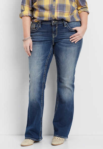 Vigoss® plus size thick stitch slim boot jeans