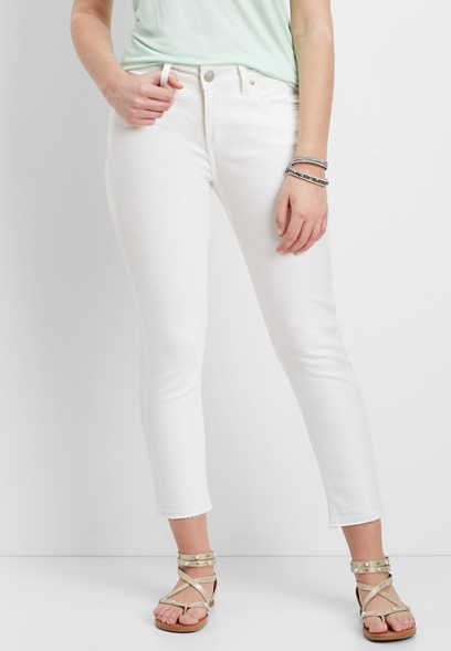 Silver Jeans Co.® Avery white high rise cropped skinny jean