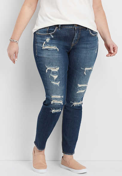 plus size Silver Jeans Co.® Suki destructed skinny jean