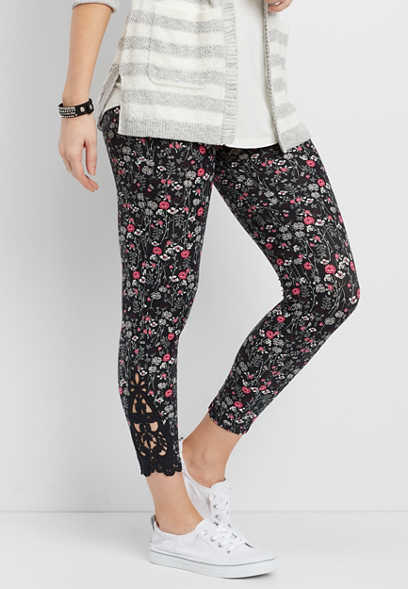 ultra soft floral 7/8 legging with crochet bottom hem inlay