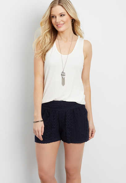 lace pull on soft shorts