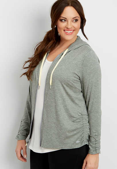 plus size ultra soft hooded zip up sweatshirt with cinching