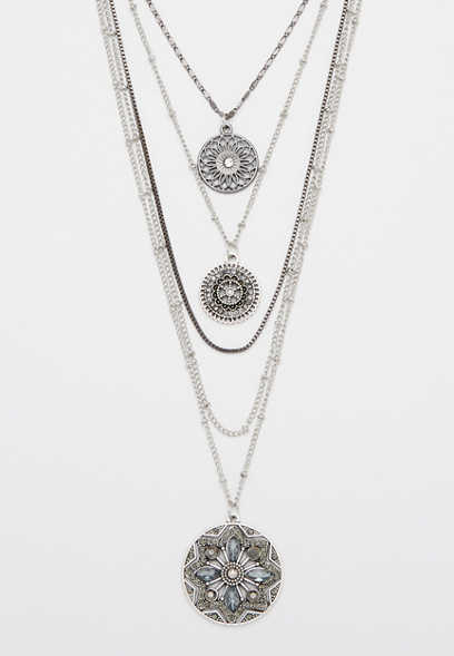 Maurices Multi Row Cross And Medallion Necklace ztCyrIU