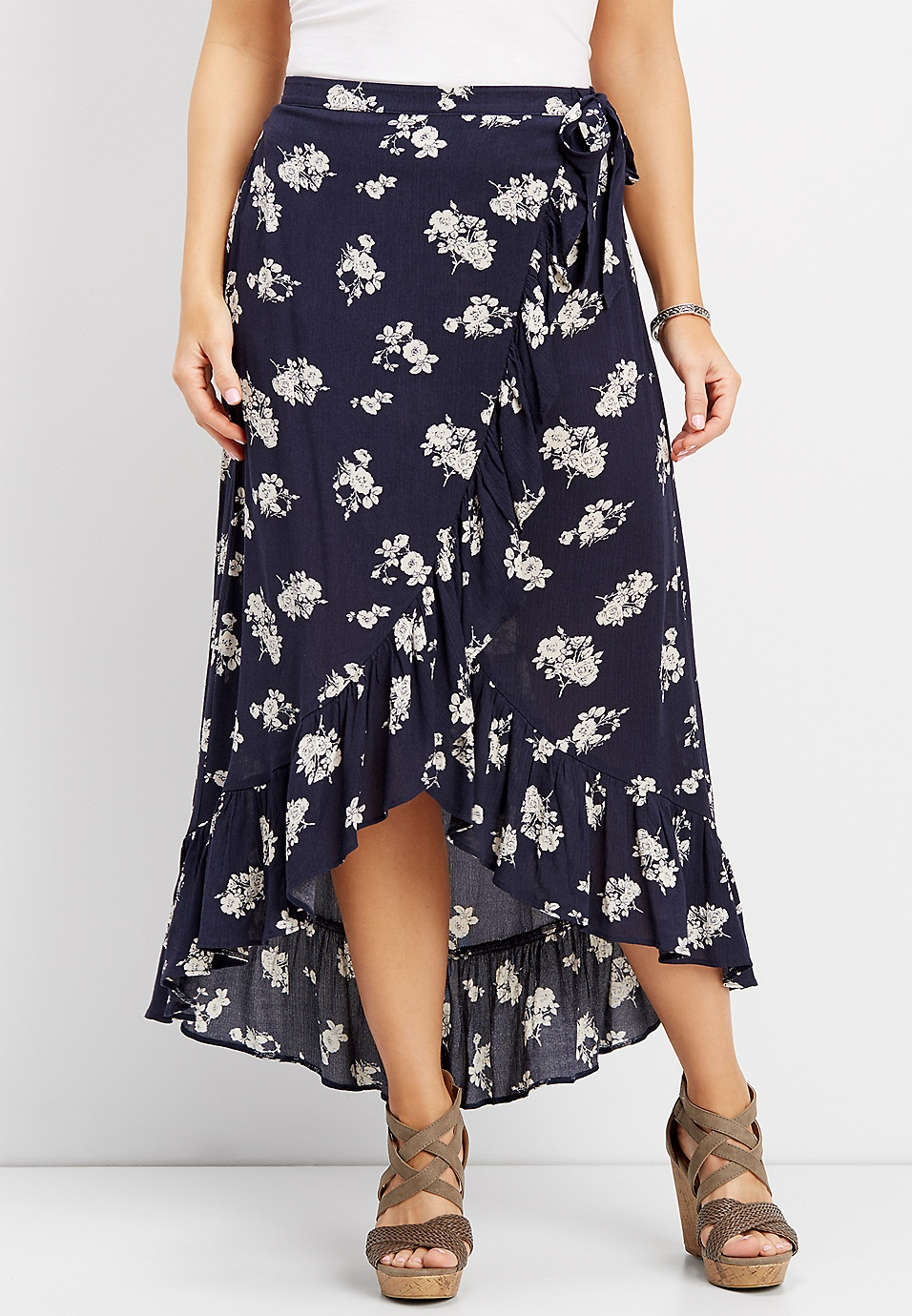 ce78ca7a14 navy floral wrap high-low maxi skirt | maurices