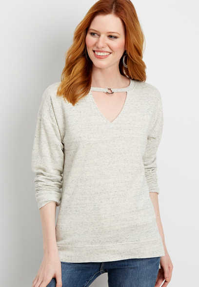 heathered sweatshirt with cut out neckline