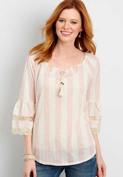 stripe peasant top with tassels and lace