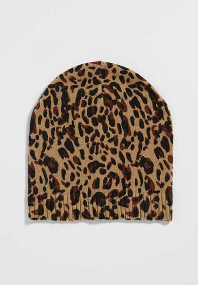 knit beanie in animal print