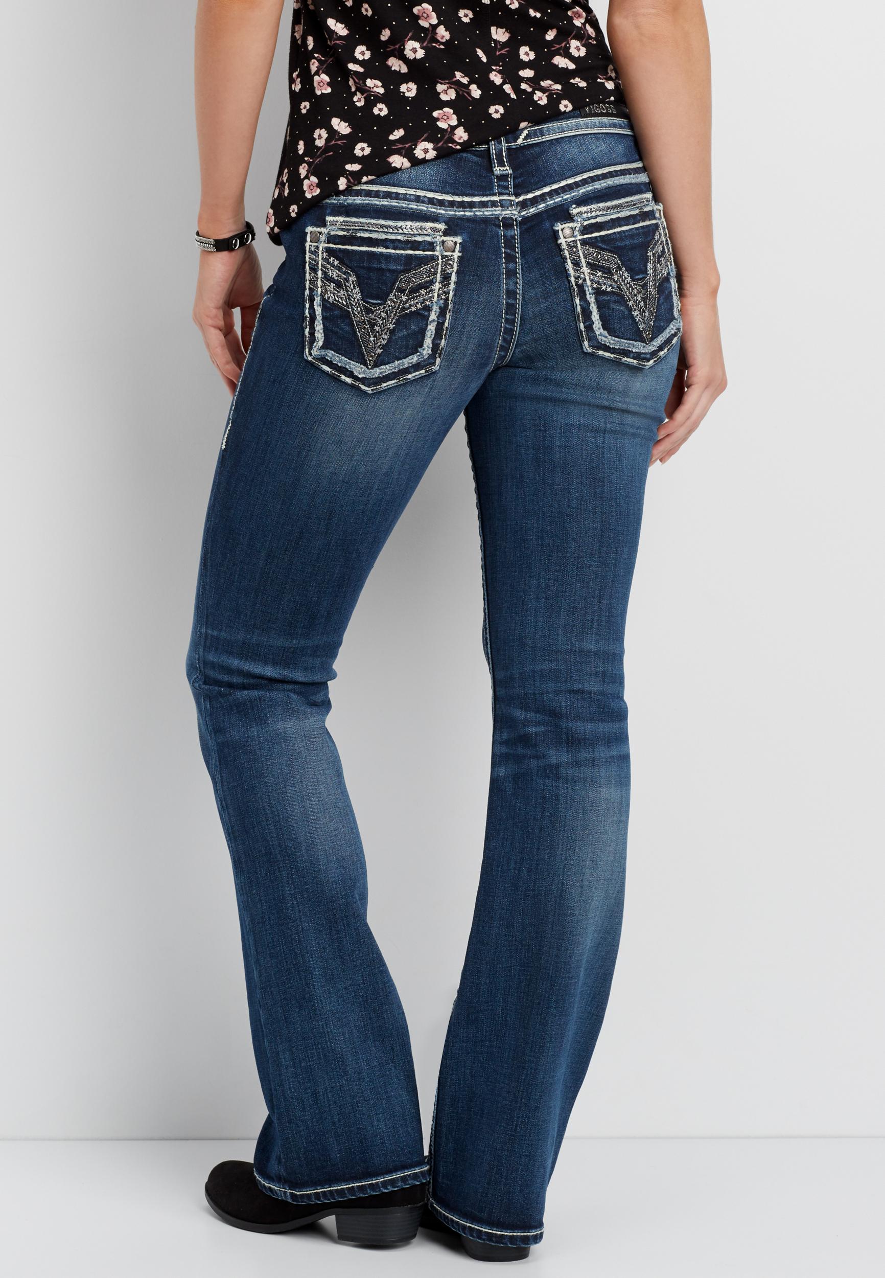Vigoss Medium Wash Bootcut Jeans With Rhinestones And Frayed Hem Maurices