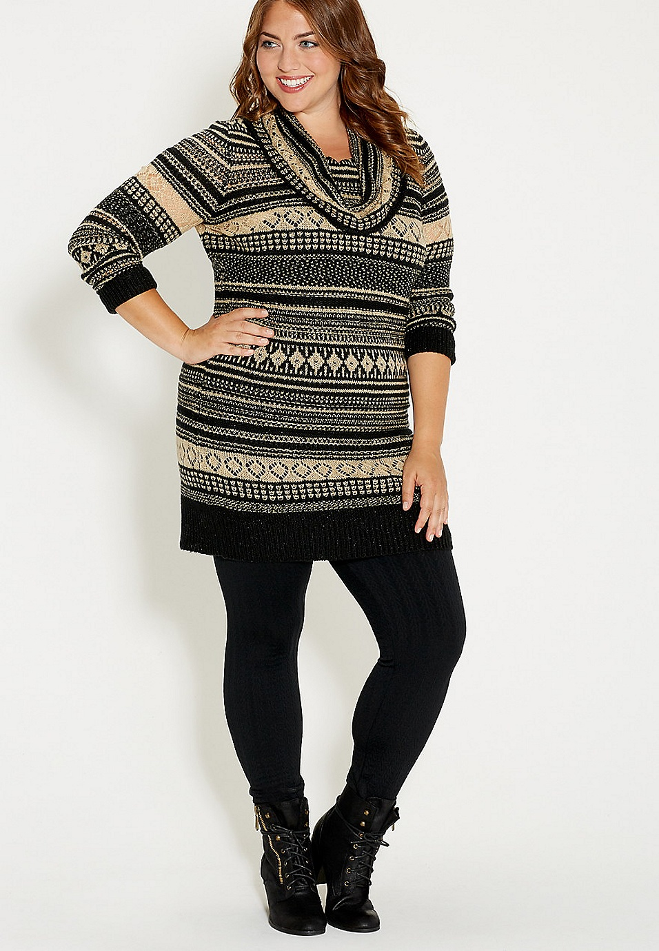 9c5771355982a2 plus size sweater dress with shimmer and cowl neck | maurices