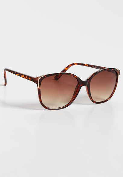 Oversized Cat Eye Sunglasses With Metal Detail