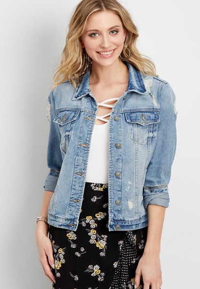 Silver Jeans Co.® destructed denim jacket
