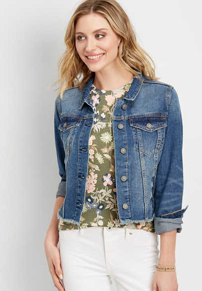Silver Jeans Co.® denim jacket with frayed hem