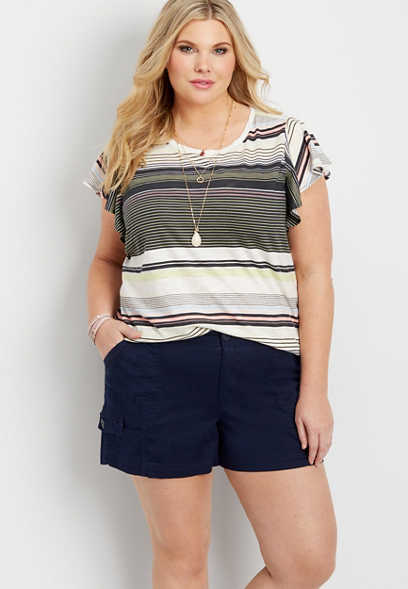 plus size knit waist linen short