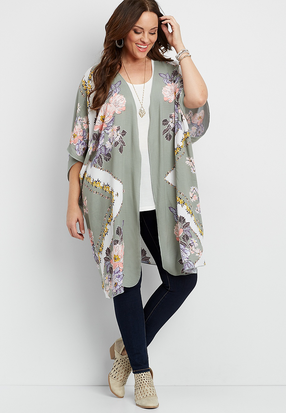 caae02461 plus size flowy kimono in floral print | maurices