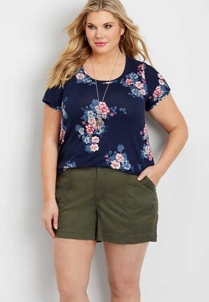 plus size mid rise green shorts