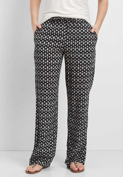 patterned wide leg pants