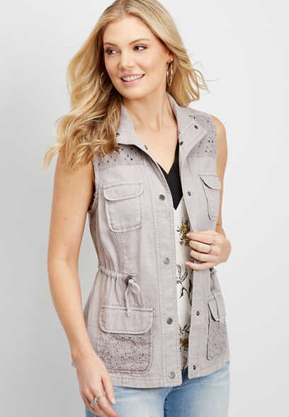 linen vest with eyelet detail