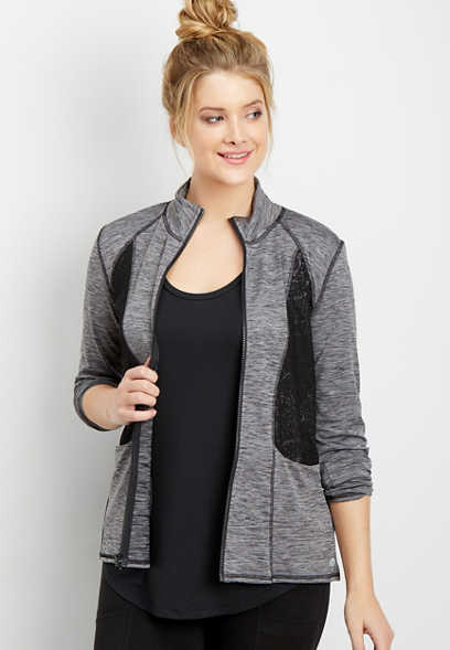 spacedye zip-up jacket with mesh lace