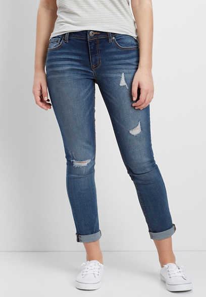 medium wash destructed cropped jeans