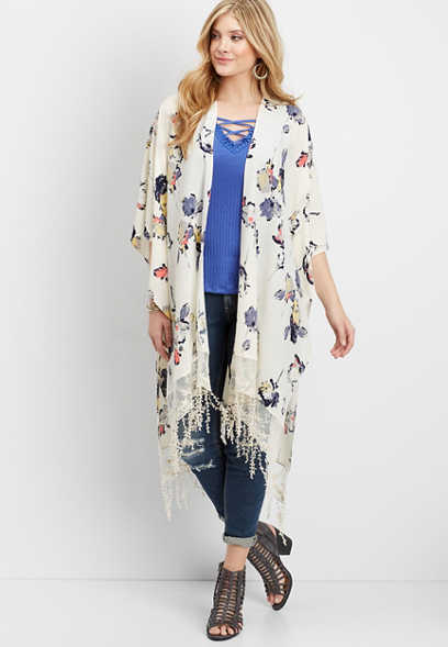 long length floral kimono with embroidered lace and crochet fringe
