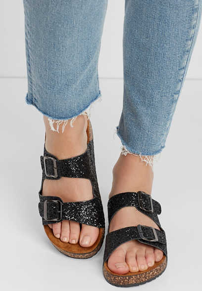 shari glitter molded footbed sandal