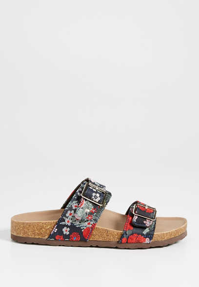 Sheryl satin embroidered floral sandal