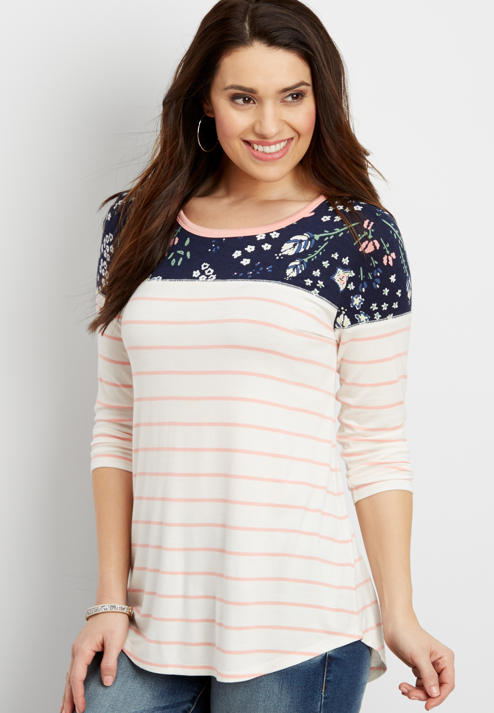 24/7 Striped V-Neck Tee Maurices