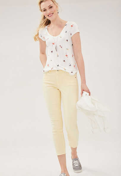DenimFlex™ high rise cropped jegging in soft sunbeam with fray hem