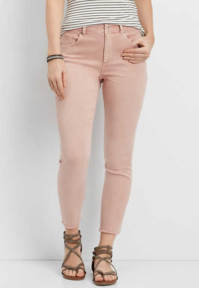DenimFlex™ high rise cropped jegging in mauve ash with fray hem