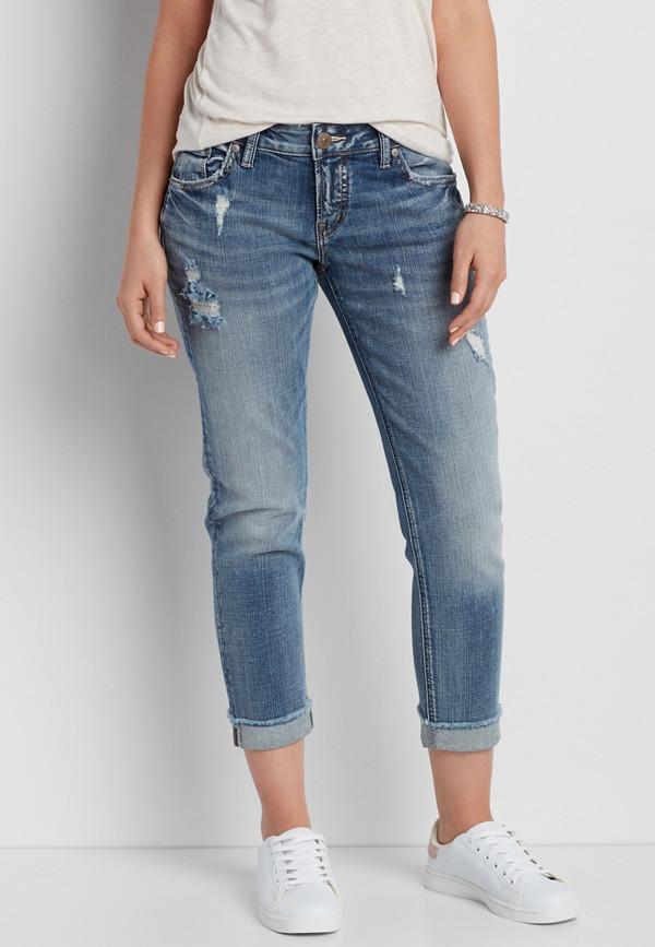 Silver Jeans Co 174 Sam Boyfriend Jeans With Destruction