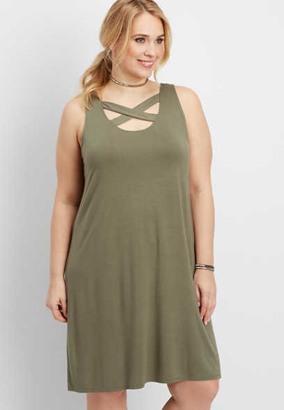 plus size 24/7 strappy neck and back shirtdress