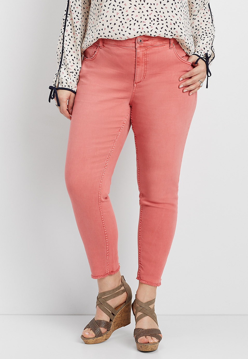 22ea79b4d4f DenimFlex™ plus size cropped color jegging in coral dust with fray hem