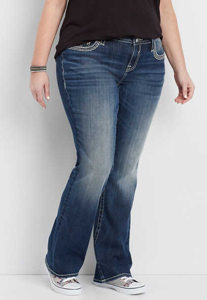 Vigoss® plus size slim boot jeans with rose gold leather, metallic details, rhinestones, and studs