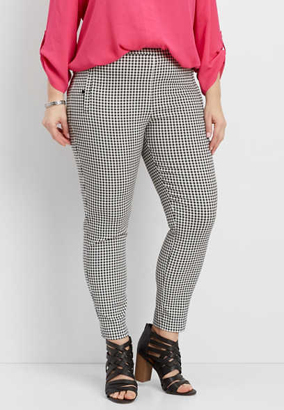 plus size gingham bengaline skinny ankle pants