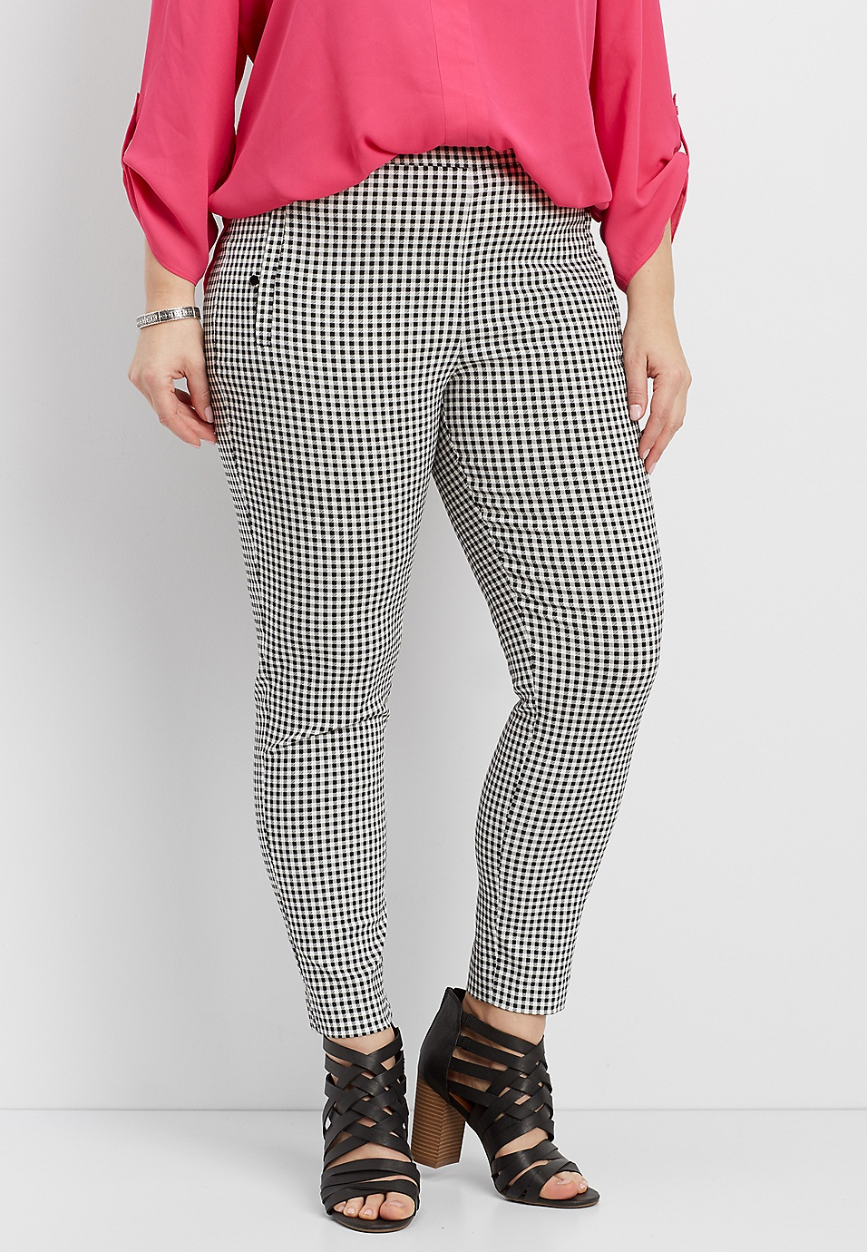 ce5abfe1cc7 plus size gingham bengaline skinny ankle pants