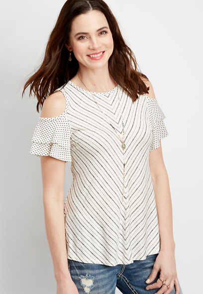 24/7 striped cold shoulder tee