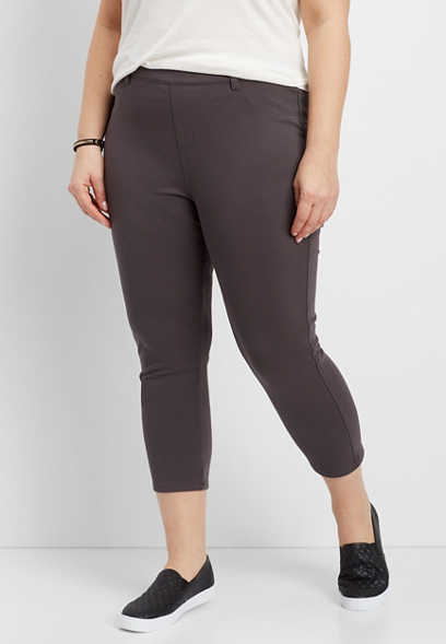 plus size pull on legging crop pant