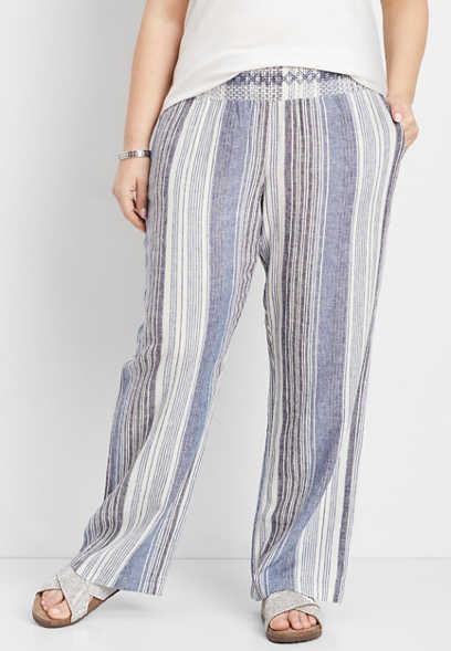 plus size striped pull on pant